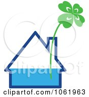 Clipart Shamrock In A House Vase Royalty Free Vector Illustration by Vector Tradition SM
