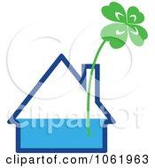 Clipart Shamrock In A House Vase Royalty Free Vector Illustration