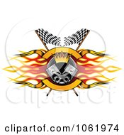 Clipart Flame Flags And Piston Motor Sports Banner 1 Royalty Free Vector Illustration