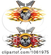 Clipart Flame Flags And Piston Motor Sports Banners Digital Collage Royalty Free Vector Illustration