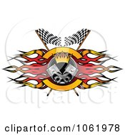 Clipart Flame Flags And Piston Motor Sports Banner 2 Royalty Free Vector Illustration