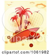 Clipart Palm Tree Island And Surfboard Background Royalty Free Vector Clip Art Illustration