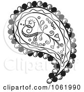 Heart Paisley Design Black And White Version 1