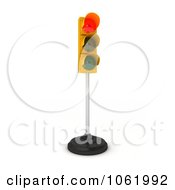 Clipart 3d Red Traffic Light On A Pole Royalty Free CGI Illustration by stockillustrations