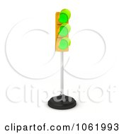 Clipart 3d Triple Green Light On A Pole Royalty Free CGI Illustration by stockillustrations