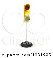Clipart 3d Yellow Traffic Light On A Pole Royalty Free CGI Illustration