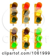 Clipart 3d Traffic Lights On Poles Digital Collage Royalty Free CGI Illustration by stockillustrations