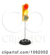 Clipart 3d Green And Yellow Traffic Light On A Pole Royalty Free CGI Illustration