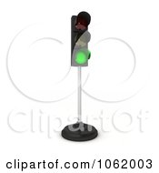 Clipart 3d Green Light On A Pole Royalty Free CGI Illustration