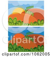Clipart Rural Night And Day Landscapes Digital Collage Royalty Free Vector Illustration by MilsiArt
