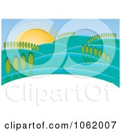 Clipart Hilly Rural Landscape Royalty Free Vector Illustration