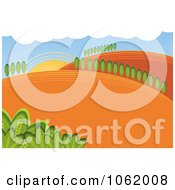 Clipart Hilly Rural Farm Landscape Royalty Free Vector Illustration by MilsiArt
