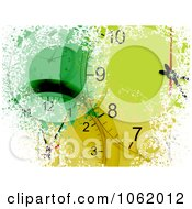 Clipart Grungy Green Clock Background Royalty Free Vector Illustration by elaineitalia