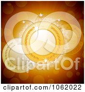 Clipart 3d Laurel Medals Over Flares Royalty Free Vector Illustration