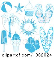 Clipart Summer Travel Items Digital Collage Royalty Free Vector Illustration by elaineitalia