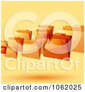 Clipart 3d Orange Floating Folders Royalty Free Vector Illustration