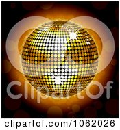Clipart 3d Glowing Gold Disco Ball Royalty Free Vector Illustration