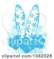 Blue Surfboards With Hibiscus Flowers And Grunge