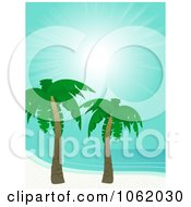 Clipart Tropical Coast With Palm Trees Royalty Free Vector Illustration