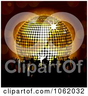 Clipart Silhouetted Dancers And A 3d Disco Ball Royalty Free Vector Illustration