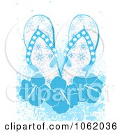Clipart Blue Flip Flops With Hibiscus Flowers And Grunge Royalty Free Vector Illustration by elaineitalia
