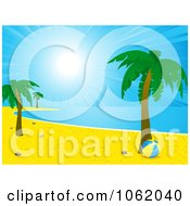 Clipart Tropical Coastline With Palm Trees And A Beach Ball Royalty Free Vector Illustration