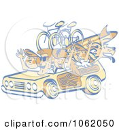 Clipart Retro Summer Family In A Woody Car Royalty Free Vector Vacation Illustration