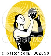 Clipart Female Volleyball Player Logo Royalty Free Vector Illustration by patrimonio