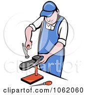 Clipart Shoe Maker Worker Man Hammering Royalty Free Vector Illustration by patrimonio