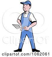 Clipart Brick Layer Worker Man Royalty Free Vector Illustration by patrimonio