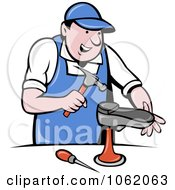 Clipart Hammering Shoe Maker Worker Man Royalty Free Vector Illustration by patrimonio