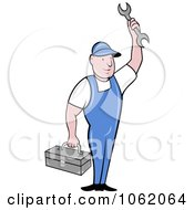 Clipart Repair Worker Man With Tools Royalty Free Vector Illustration