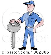 Clipart Locksmith Worker Man With A Key Royalty Free Vector Illustration by patrimonio