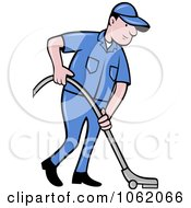 Clipart Carpet Cleaner Worker Man Royalty Free Vector Illustration
