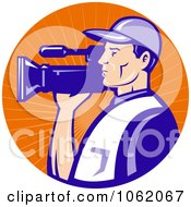 Clipart Camera Man In Blue Uniform Logo Royalty Free Vector Illustration