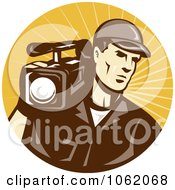 Clipart Camera Man In Brown Uniform Logo Royalty Free Vector Illustration
