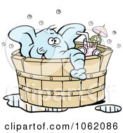 Clipart Elephant Drinking In A Hot Tub Royalty Free Vector Illustration by Johnny Sajem