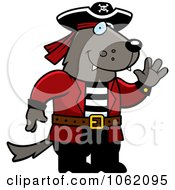 Clipart Wolf Pirate Waving Royalty Free Vector Illustration