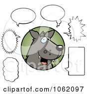 Clipart Wolf With Chat Balloons Royalty Free Vector Illustration