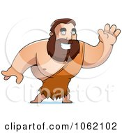 Clipart Big Barbarian Waving Royalty Free Vector Illustration