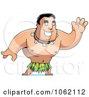 Clipart Hawaiian Man Waving Royalty Free Vector Illustration by Cory Thoman