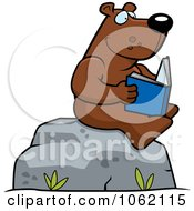 Clipart Bear Reading A Book On A Boulder Royalty Free Vector Illustration