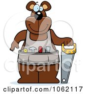 Clipart Big Bear Worker With A Saw Royalty Free Vector Illustration