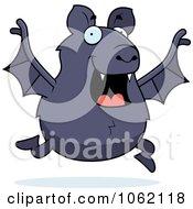 Clipart Chubby Bat Running Royalty Free Vector Illustration