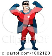 Clipart Super Hero Flexing Both Arms Royalty Free Vector Illustration by Cory Thoman #COLLC1062123-0121