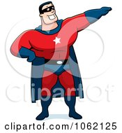 Clipart Super Hero Pointing Royalty Free Vector Illustration