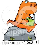 Clipart T Rex Reading A Book On A Boulder Royalty Free Vector Illustration