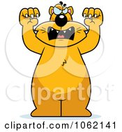 Clipart Big Mean Cat Attacking Royalty Free Vector Illustration
