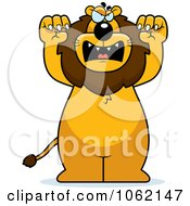Clipart Big Mean Lion Attacking Royalty Free Vector Illustration