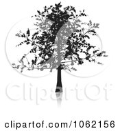 Clipart Oak Tree In Silhouette Royalty Free Vector Illustration